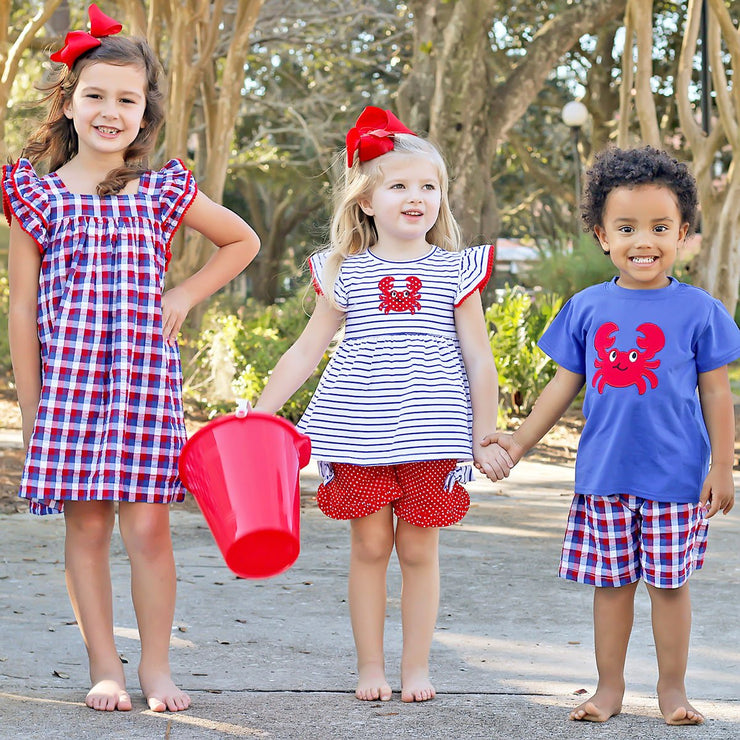Red and Blue Plaid Crab Short Set