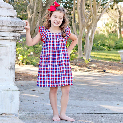 Red and Blue Plaid Poppy Dress