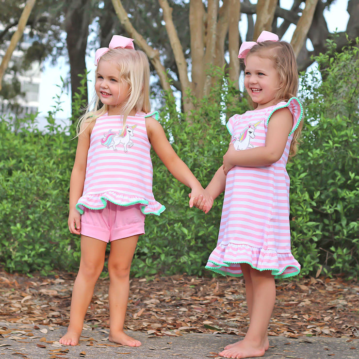 Pink Stripe Unicorn Ruffle Dress