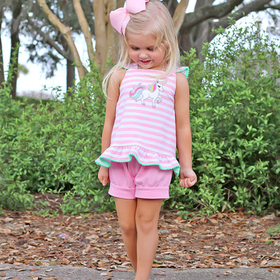 Pink Stripe Cross Back Unicorn Short Set