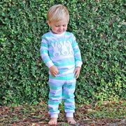Three Bunny Blue and Mint Stripe Loungewear