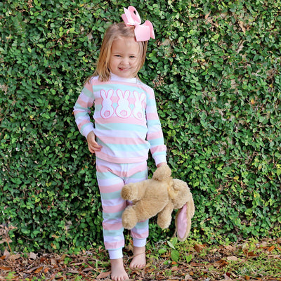Three Bunny Pink and Mint Stripe Loungewear
