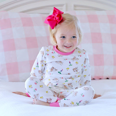 Pink Bunny Print Tight Fitting Loungewear