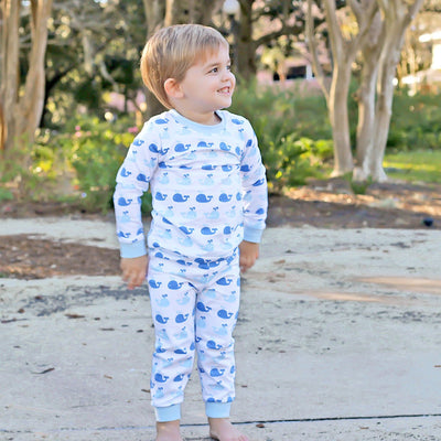 Blue Whale Print Knit Loungewear