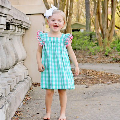 Mint Check Poppy Dress