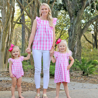 Mom Flutter Sleeve Top Light Pink Gingham