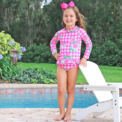 Floral Hot Pink Gingham Long Sleeve Rash Guard Set