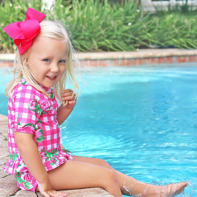 Floral Hot Pink Gingham Short Sleeve Rash Guard Set