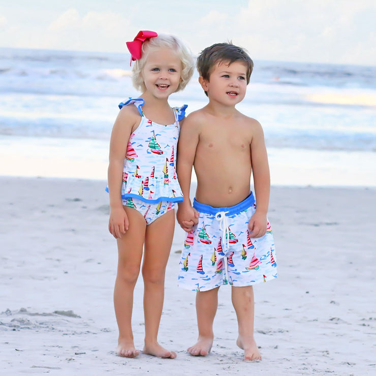 Sailboat Print Peplum One Piece