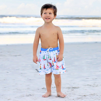 Sailboat Print Swim Trunks