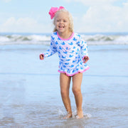 Whale Print Long Sleeve Flutter Rash Guard Set