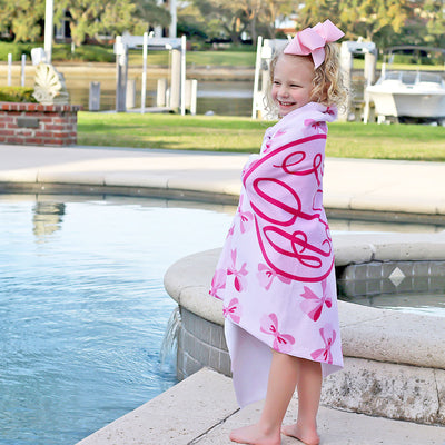 Personalized Pink Bow Towel