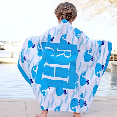 Personalized Boy Whale Towel Blue