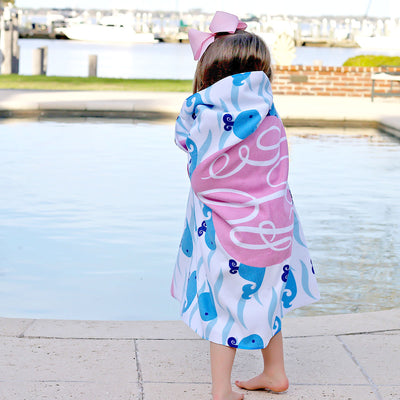 Personalized Girl Whale Towel Pink and Blue