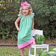 Pink Watermelon Smocked Dress Green Check