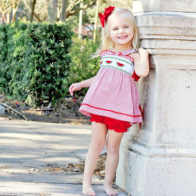 Watermelon Smocked Tie Back Bloomer Set Red Windowpane Seersucker