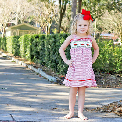 Watermelon Smocked Tie Back Dress Red Windowpane Seersucker