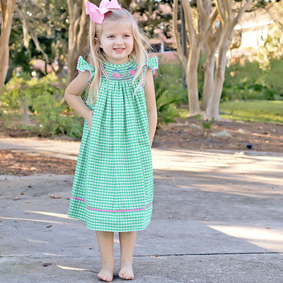 Whale Smocked Dress Green Check