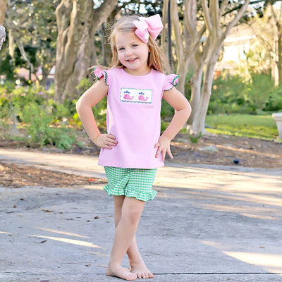 Pink Whale Smocked Girls Short Set Green Check