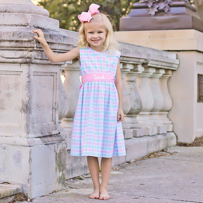 Pink and Aqua Plaid Sash Dress