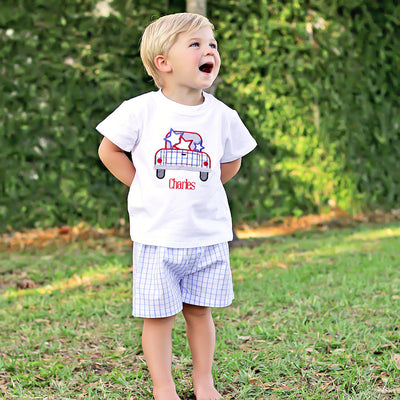 Patriotic Blue Windowpane Boy Short Set