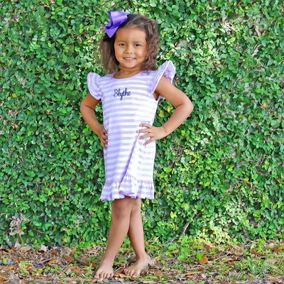 Purple Stripe Knit Ruffle Dress