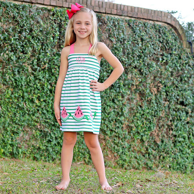 Green Stripe Watermelon Mia Dress