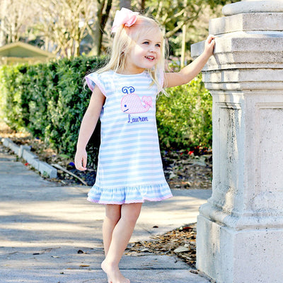 Light Blue Stripe Whale Ruffle Dress