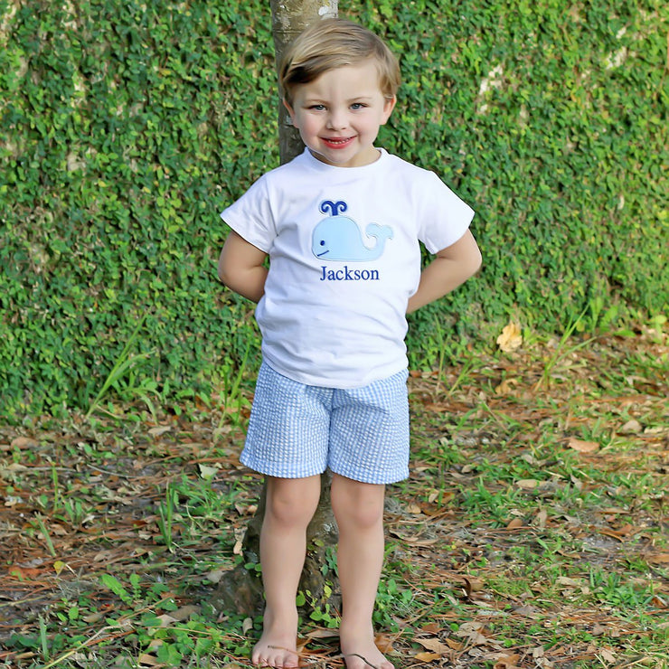 Blue Gingham Whale Short Set
