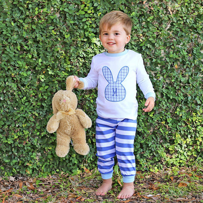 Applique Bunny Silhouette Loungewear Royal Blue Stripe