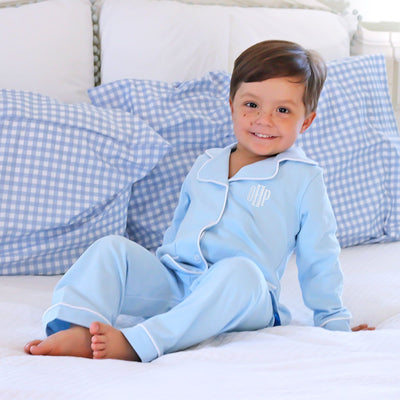 Boys Knit Menswear Loungewear Light Blue