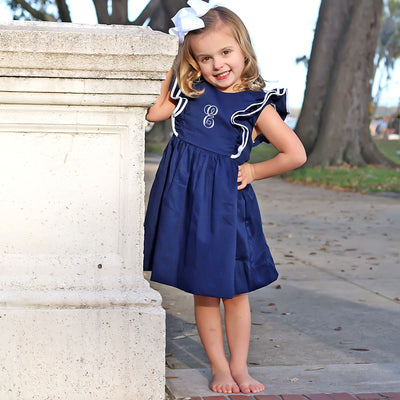 Double Ruffle Navy Pique Dress