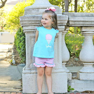 Ice Cream Cone Applique Short Set Aqua and Pink Check