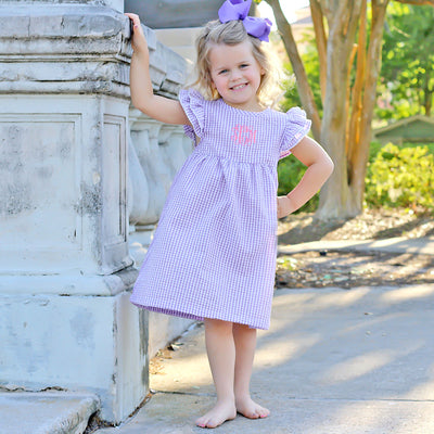 Purple Gingham Flutter Sleeve Dress