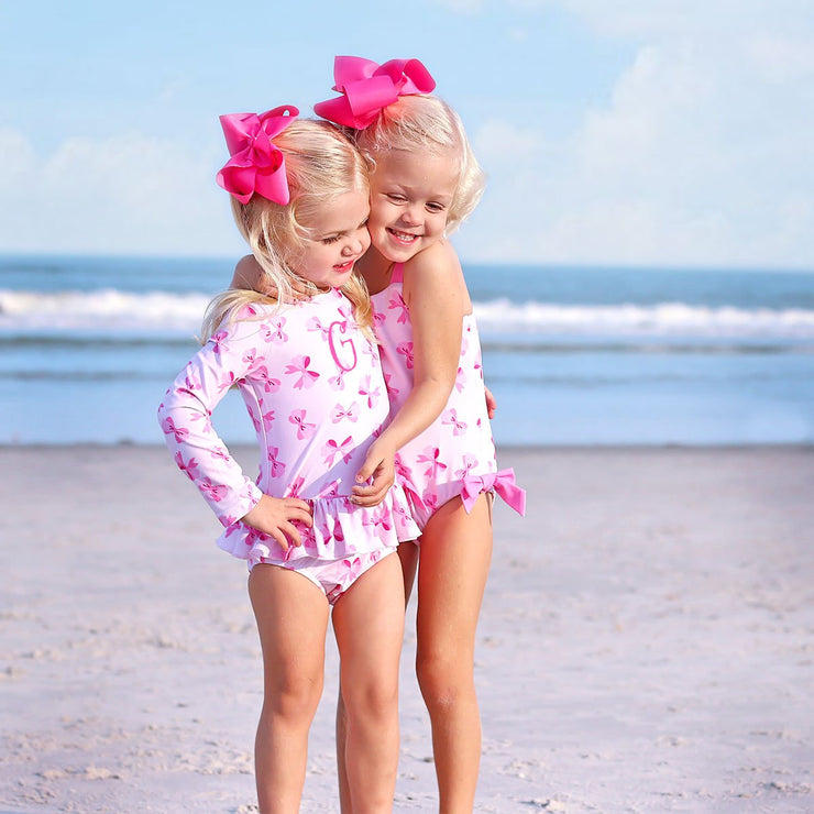 Pink Bow Print Long Sleeve One Piece Rash Guard