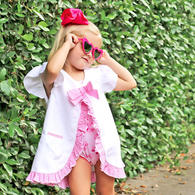 Pink Gingham Swim Cover Up