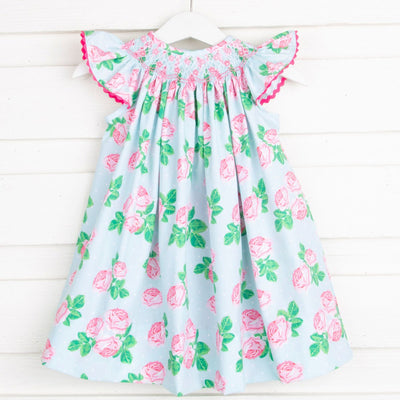 Geometric Smocked Dress Vintage Blooms