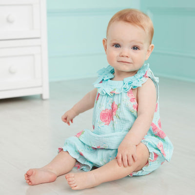 Blue Rose Pinafore Set