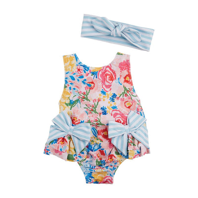 Floral Stripe Swimsuit & Headband Set