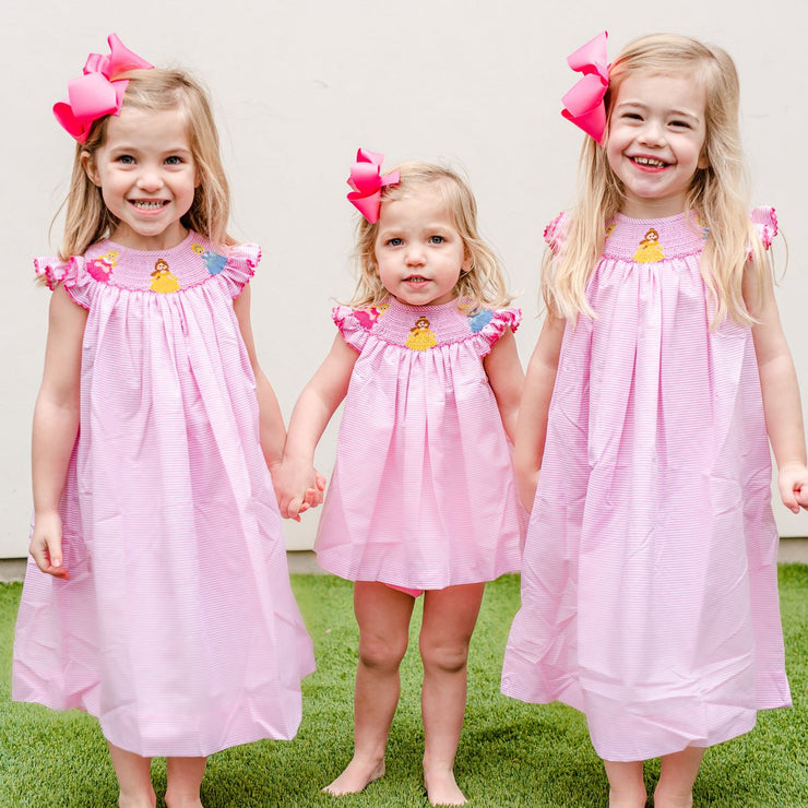 Princess Smocked Dress Light Pink Stripe