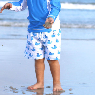 Whale Print Swim Trunks
