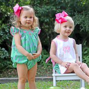 Pink Watermelon Smocked Bubble Green Check