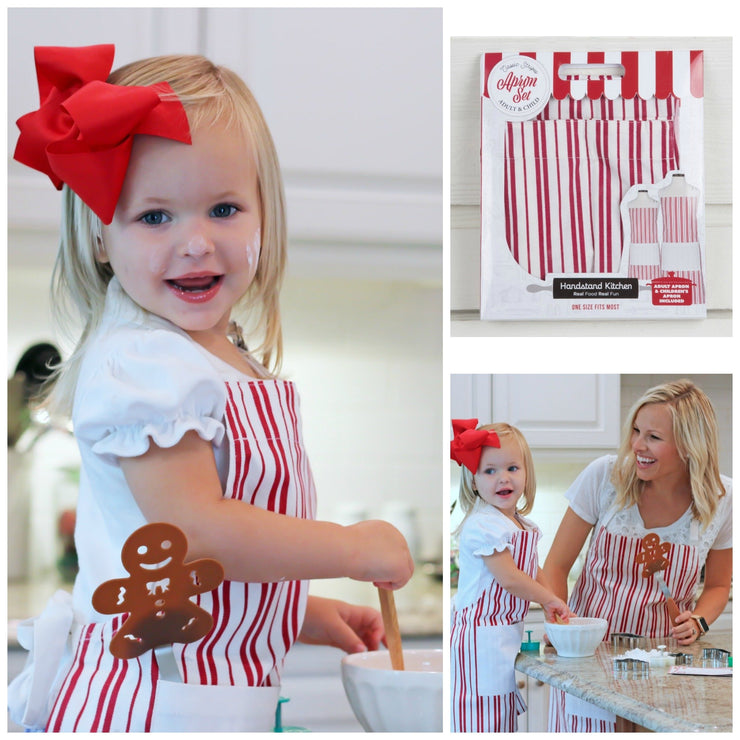 Classic Striped Parent & Child Apron Set