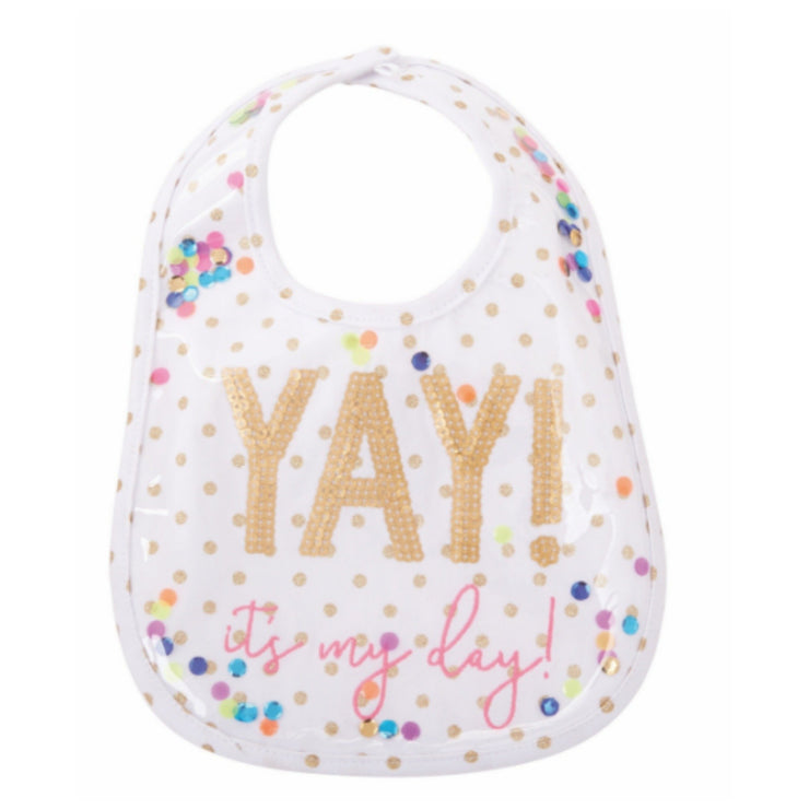 Laminated Yay Sequin Baby Bib