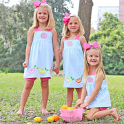 Applique Lemonade Mia Bloomer Set Turquoise Knit Stripe