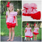 Beverly Bloomer Set Geometric Smocked Red Windowpane