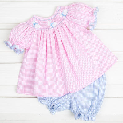 Bloomer Set Bunny Silhouette Smocked Pink Check