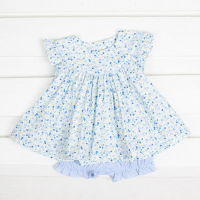 Blue Tiny Floral Lucy Bloomer Set