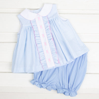 Bunny Bum Center Embroidered Bloomer Set Light Blue Gingham