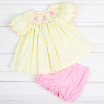 Bunny Bum Smocked Bloomer Set Yellow Pique